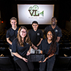 Virtual Lens team with prototype in film theater