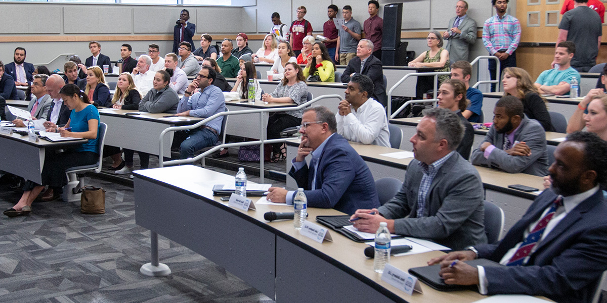 Photo of Engineering Shark Tank Judges and other interested parties