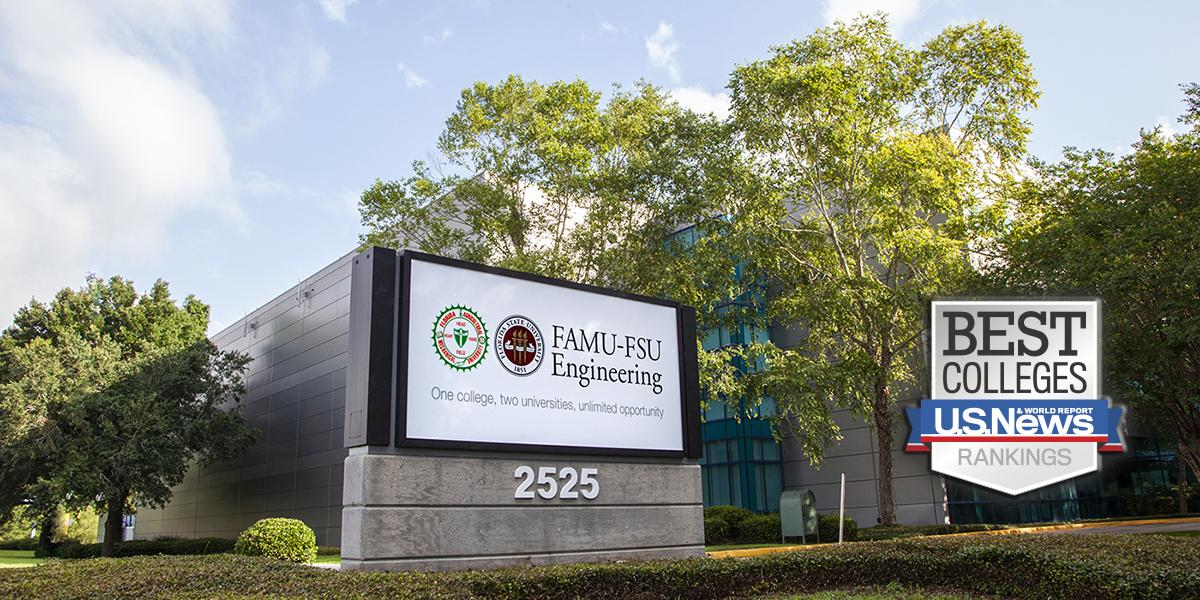 Photo of FAMU-FSU Engineering sign with US News badge